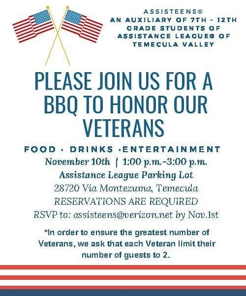 Please Join Us For A BBQ To Honor Our Veterans @ Assistance League Parking Lot | Temecula | California | United States