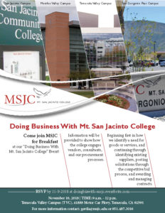 Doing Business with Mt. San Jacinto College @ MSJC Temecula Valley Campus  | Temecula | California | United States