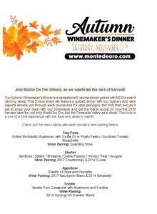 Autumn Winemakers Dinner @ Monte De Oro Winery  | Temecula | California | United States