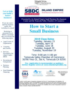 "SBDC ""How to Start a Small Business"" @ Temecula Valley Chamber of Commerce"