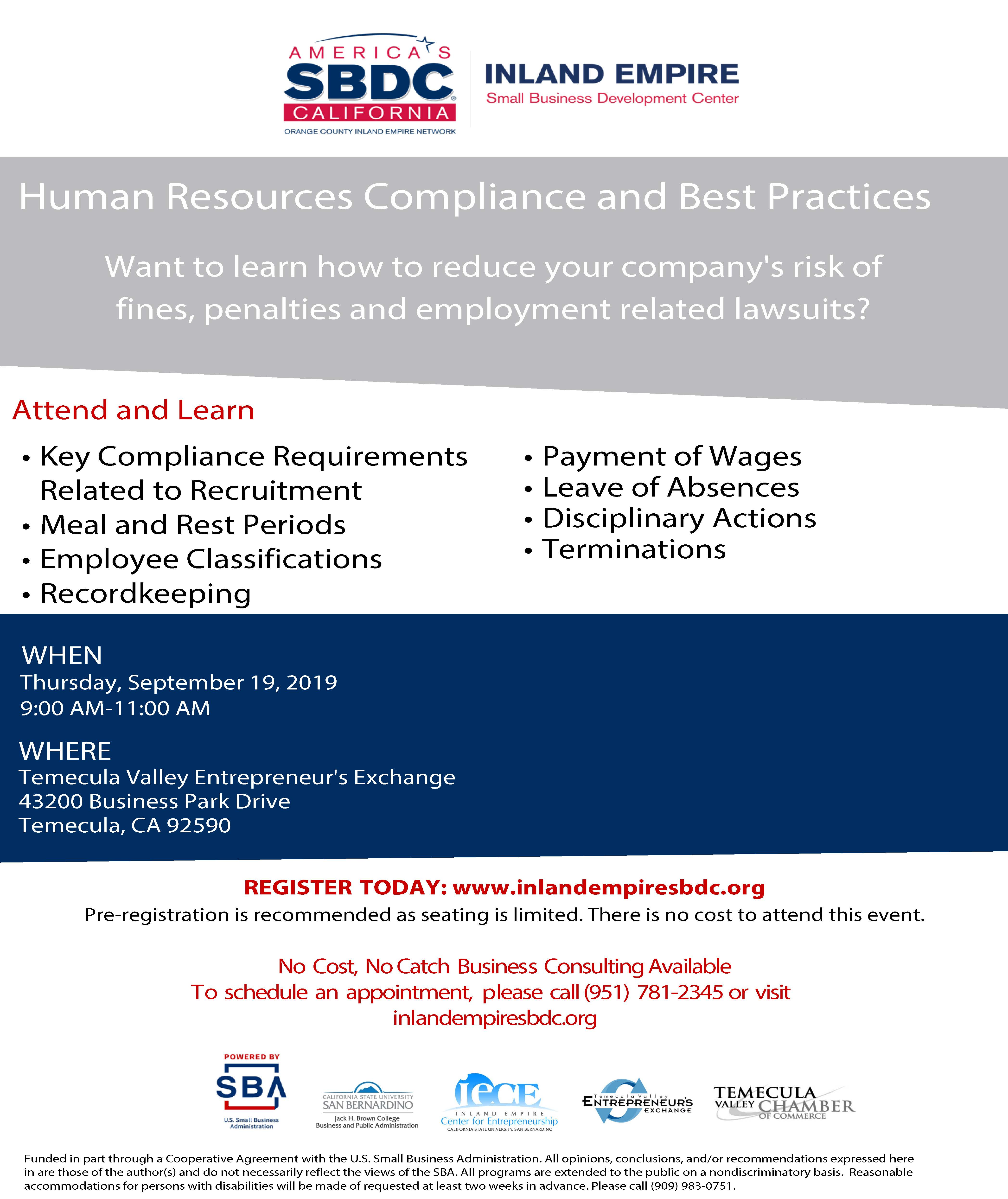 SBDC - Human Resource Compliance and Best Practices @ Temecula Valley Entrepreneur's Exchange