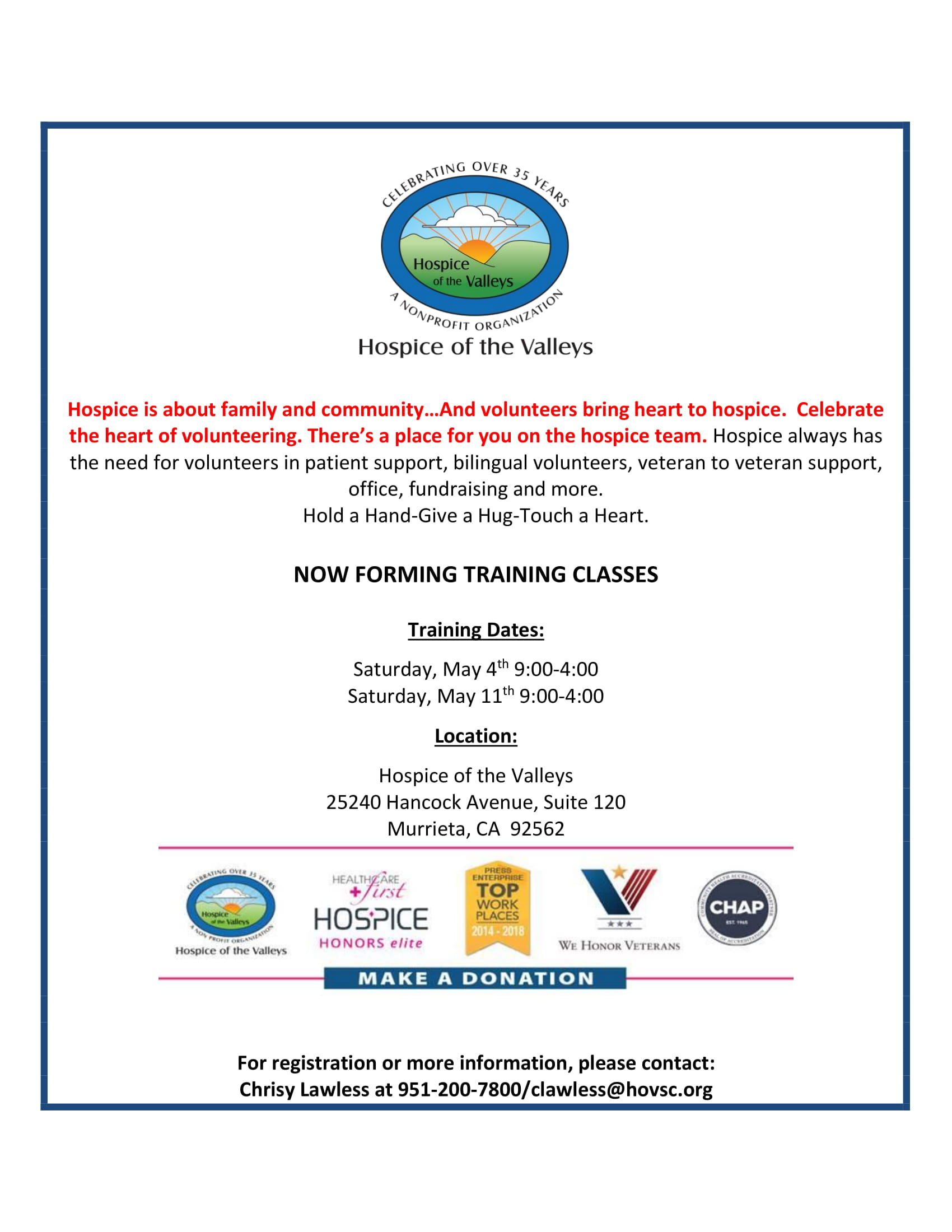 Hospice of the Valley-Training Classes for Volunteers