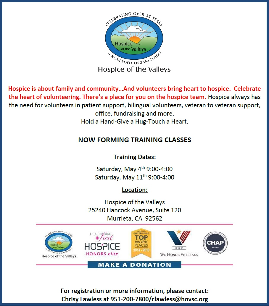 Hospice of the Valley Volunteer Opportunity