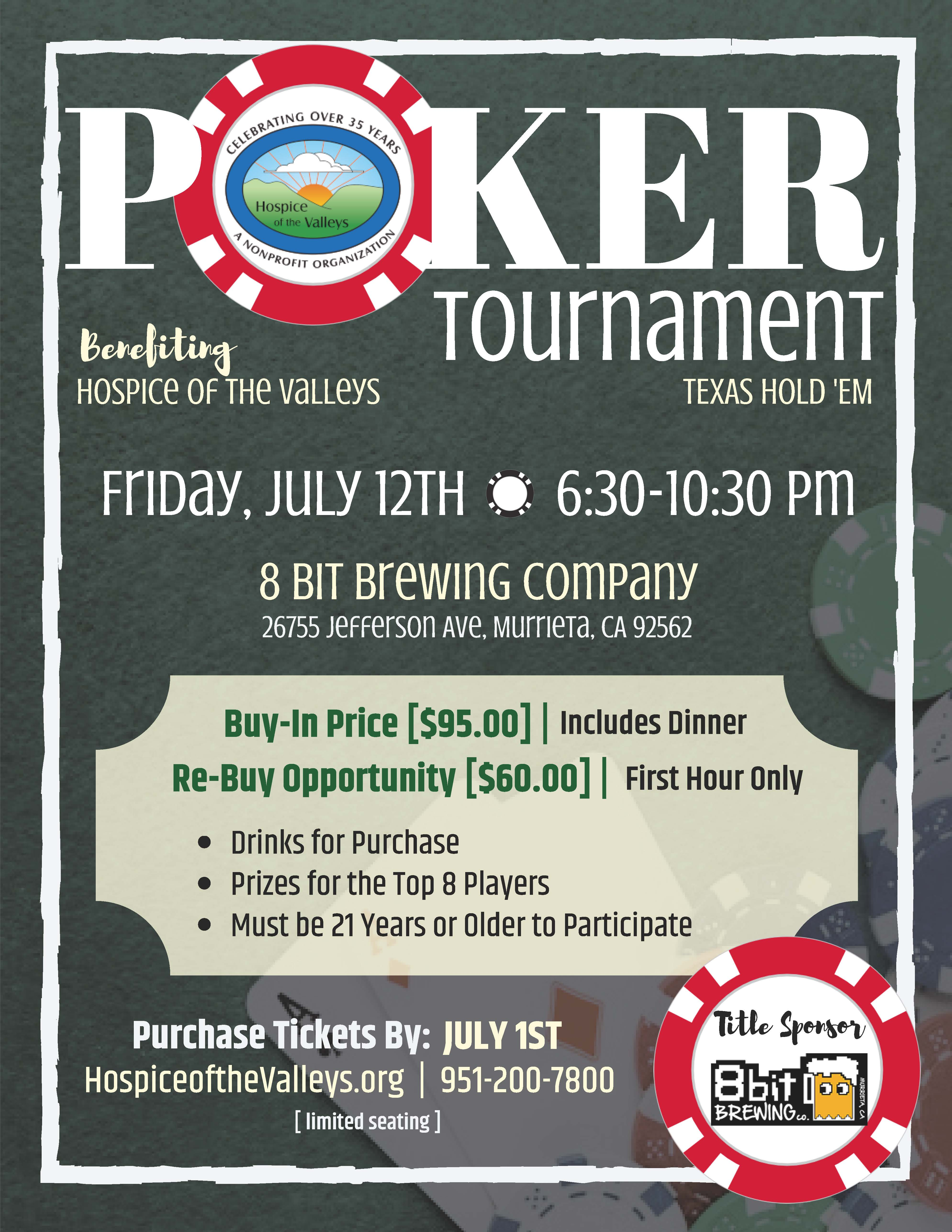 Hospice of the Valleys - Texas Hold 'Em Poker Tournament @ 8 Bit Brewing Company