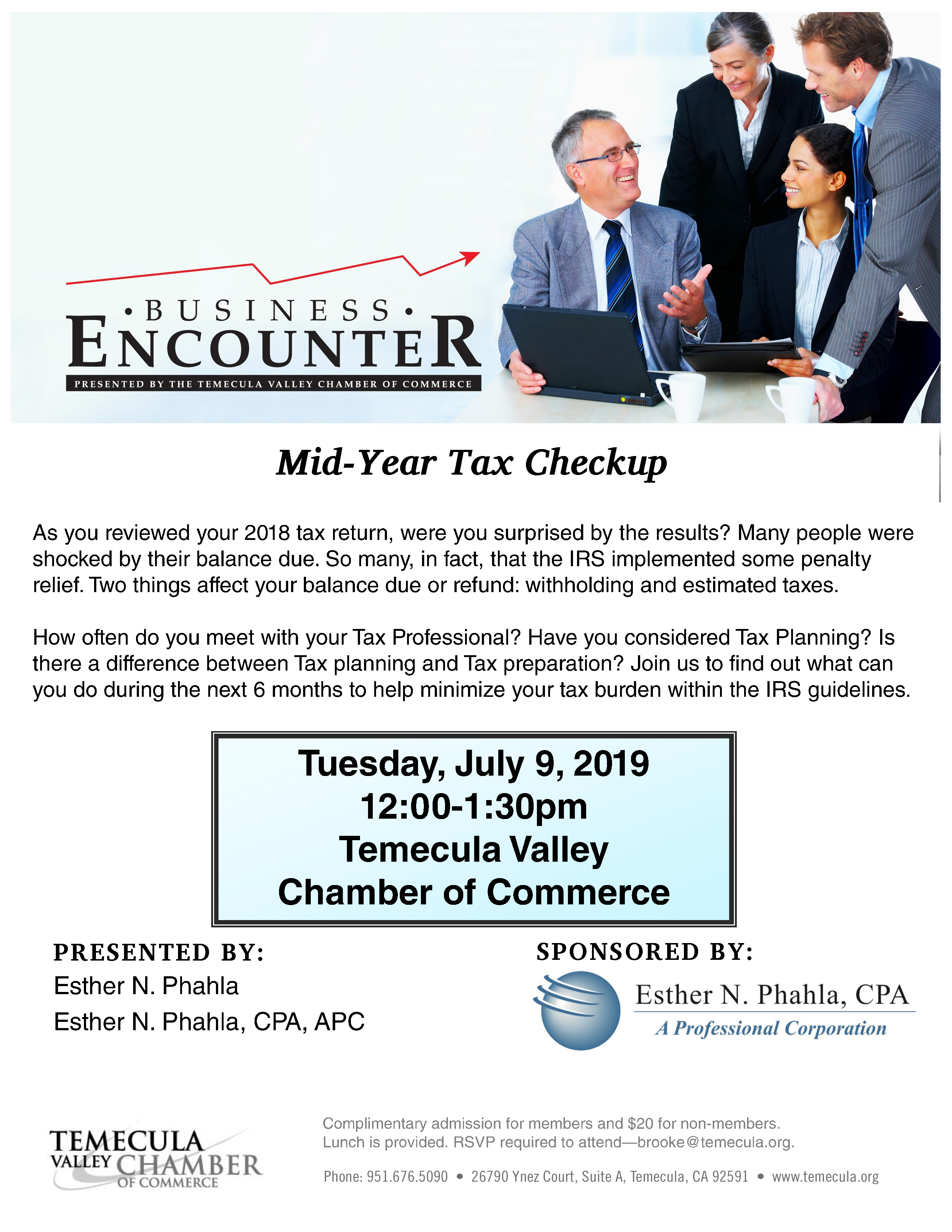 Business Encounter - Mid-Year Tax Checkup @ Temecula Valley Chamber of Commerce
