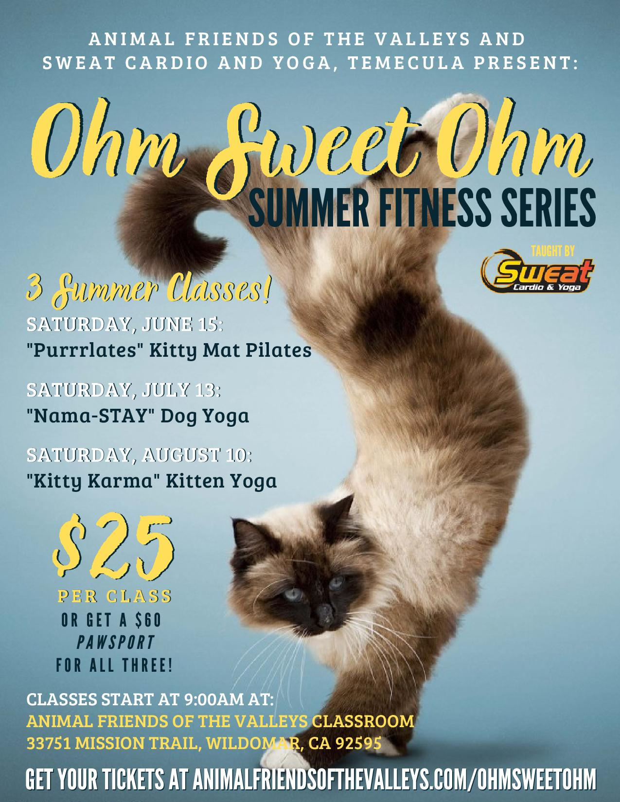Animal Friends of the Valley - Ohm Sweet Ohm Summer Fitness Series @ Animal Friends of the Valley