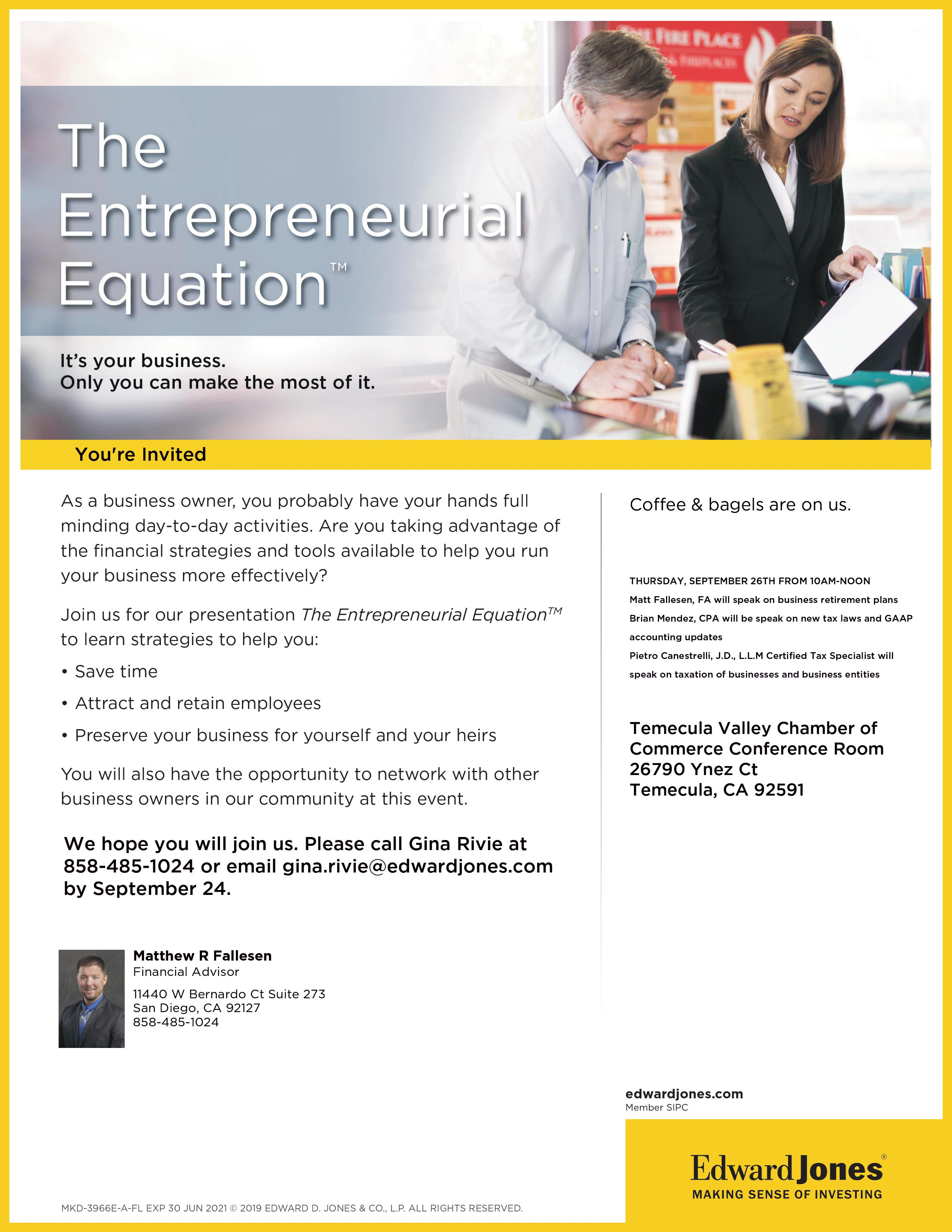 Edward Jones - The Entrepreneurial Equation @ Temecula Valley Chamber of Commerce