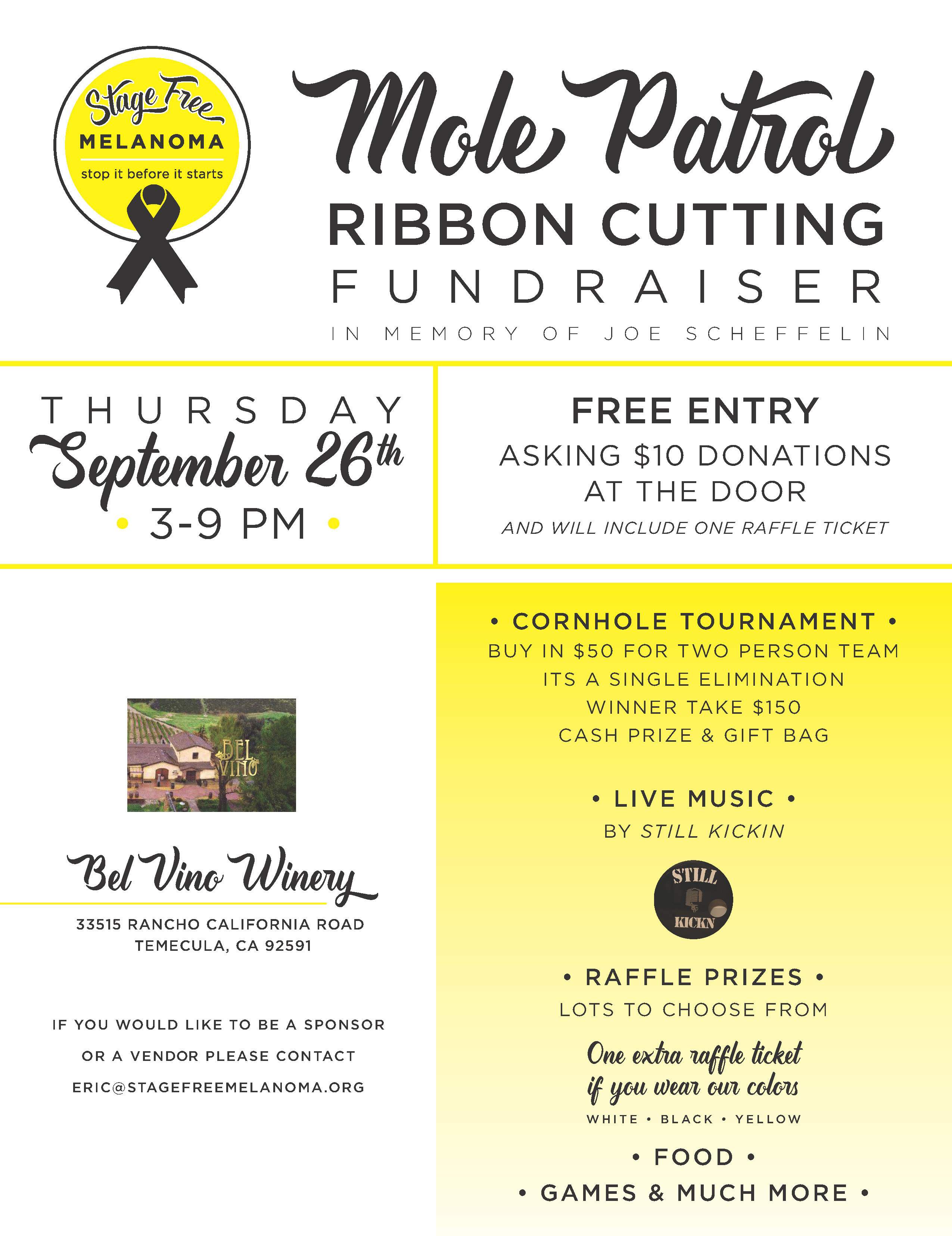 Ribbon Cutting - Stage Free Melanoma @ Bel Vino Winery