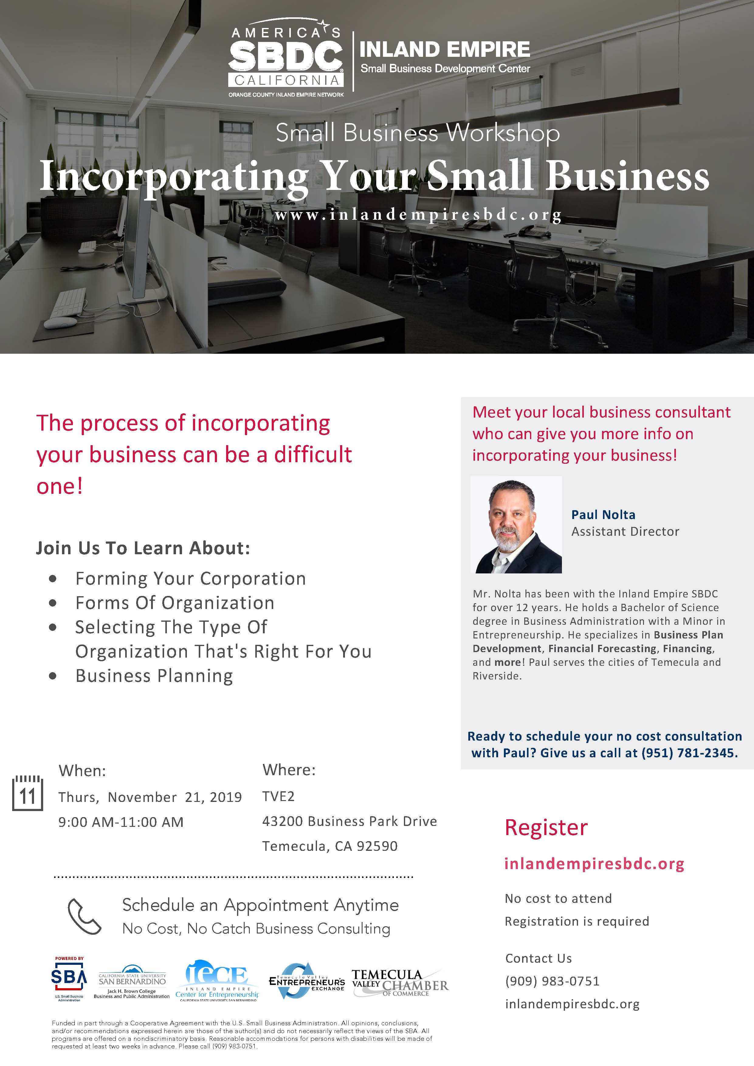 Incorporating Your Small Business Workshop @ Temecula Valley Entrepreneurs Exchange (TVE2)