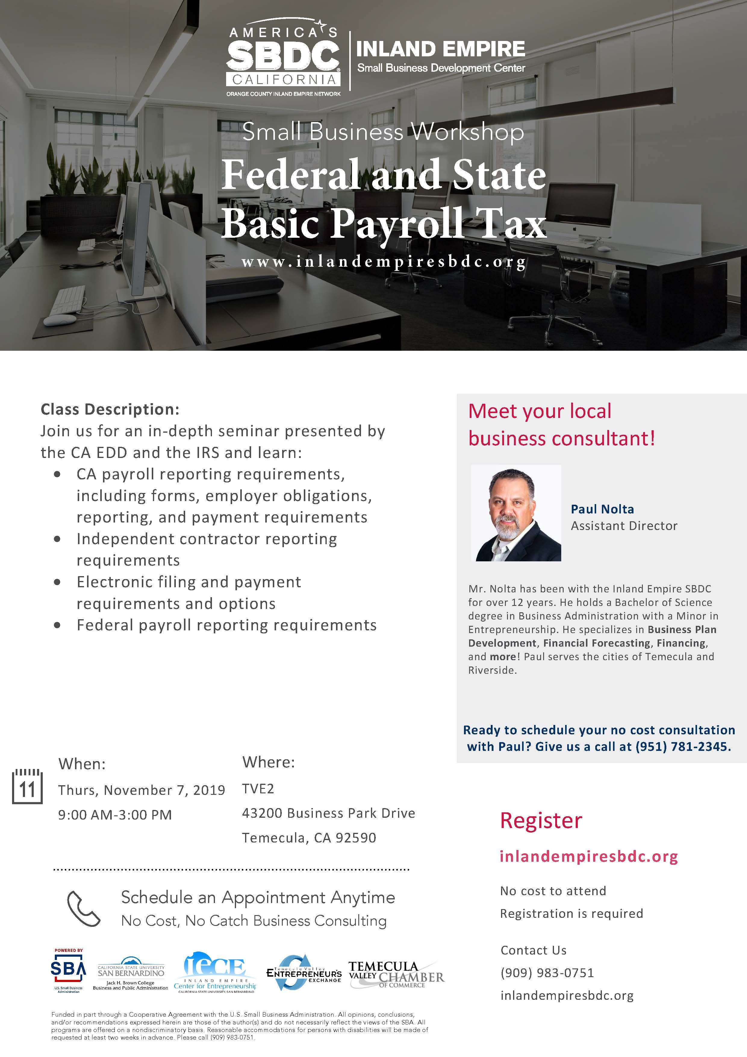 Federal and State Basic Payroll Tax Workshop @ Temecula Valley Entrepreneurs Exchange (TVE2)
