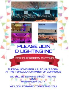 D lighting ribbon cutting flyer