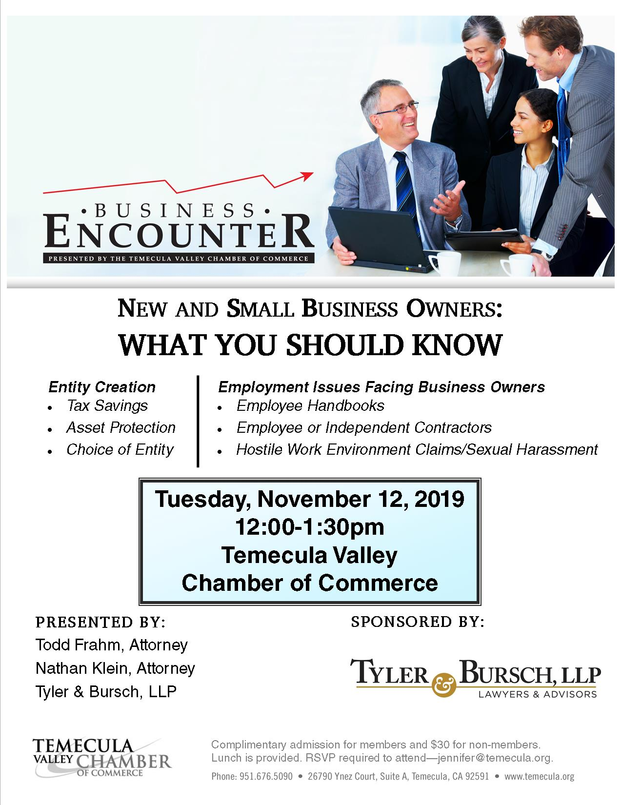 Business Encounter Seminar @ Temecula Valley Chamber of Commerce